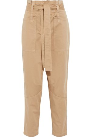 A.L.C. Woman Coburn Ii Cropped Belted Cotton-blend Tapered Pants Sand Size 4