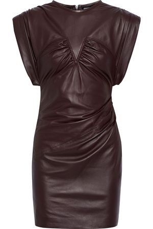 IRO Women Party Dresses - Woman Helmira Ruched Leather Mini Dress Merlot Size 36