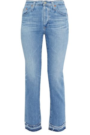 AG Jeans Women High Waisted - Woman Isabelle Cropped Frayed High-rise Slim-leg Jeans Mid Denim Size 24