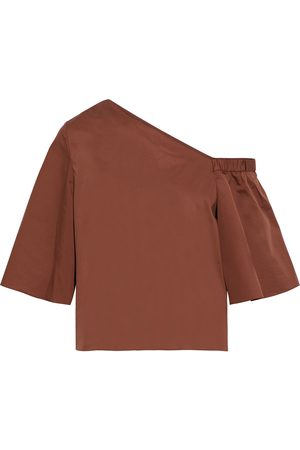 tibi Women Strapless Tops - Woman Off-the-shoulder Cotton-poplin Top Size 8