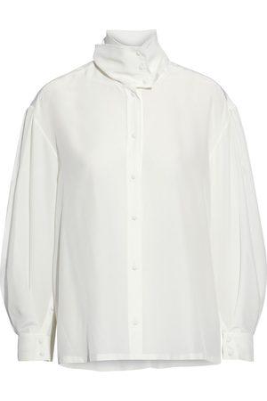 IRO Woman Malaca Silk Crepe De Chine Turtleneck Blouse Off- Size 38