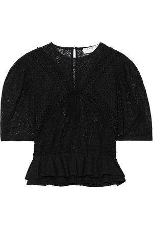 IRO Woman Steela Cotton-blend Crocheted Lace Peplum Top Size 38