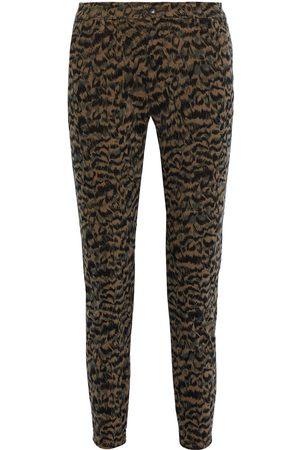 AG Jeans Woman Caden Cropped Leopard-print Cotton-blend Corduroy Slim-leg Pants Animal Print Size 23