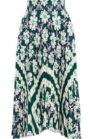 A.L.C. Woman Sonali Shirred Printed Plissé Crepe De Chine Midi Skirt Forest Size 2