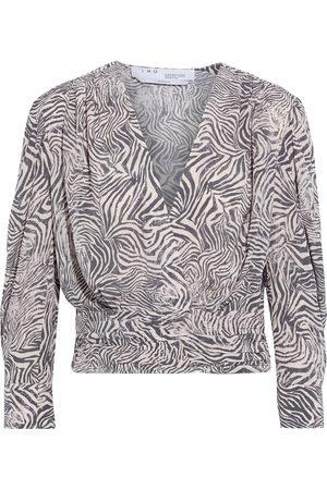 IRO Woman Ferraz Cropped Wrap-effect Zebra-print Crepe De Chine Blouse Pastel Size 38