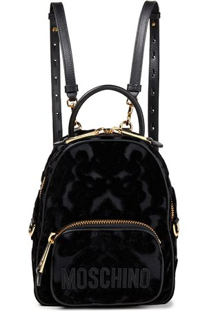 Moschino Women Rucksacks - Woman Leather-trimmed Flocked Canvas Backpack Size