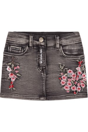 MONNALISA Embroidered Flowers Denim Skirt - Girl - 4 years - - Denim skirts