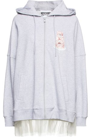 MOSCHINO Woman Tulle-trimmed Printed French Cotton-terry Hoodie Light Size 36