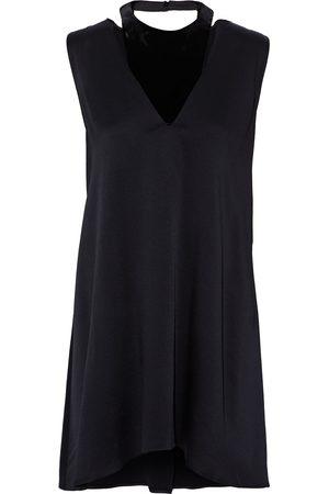 VALENTINO Woman Asymmetric Layered Hammered-satin And Velvet Mini Dress Size 38