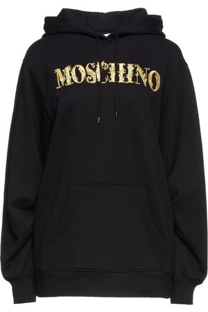 Moschino Woman Metallic Embroidered French Cotton-terry Hoodie Size 36