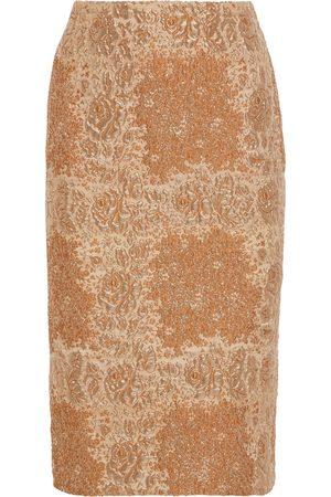 VALENTINO Woman Metallic Brocade Pencil Skirt Size 40
