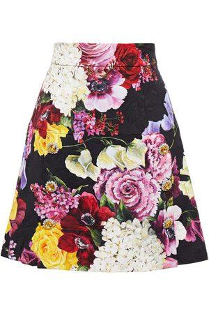 DOLCE & GABBANA Women Printed Skirts - Woman Embellished Floral-print Cotton-blend Jacquard Mini Skirt Size 36
