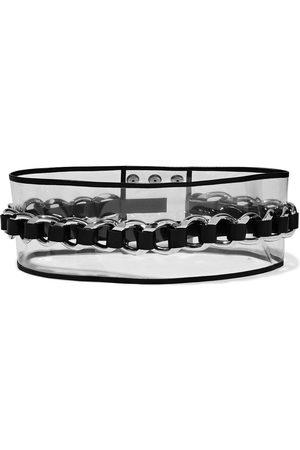 Balmain Women Belts - Woman Leather-trimmed Chain-embellished Pvc Waist Belt Clear Size 36