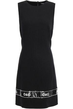 DOLCE & GABBANA Woman Sequin-embellished Wool-blend Crepe Mini Dress Size 38