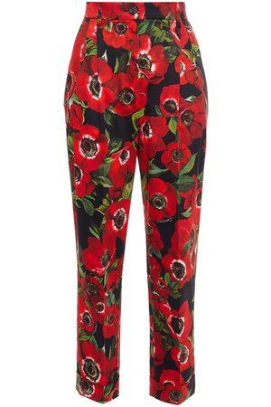 Dolce & Gabbana Women Skinny Pants - Woman Pleated Floral-print Cotton-blend Slim-leg Pants Size 36