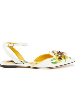 Dolce & Gabbana Women Flat Shoes - Woman Bellucci Embellished Floral-print Leather Point-toe Flats Size 39
