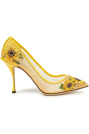 DOLCE & GABBANA Woman Embroidered Mesh Pumps Size 37