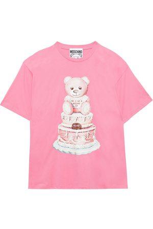 Moschino Women Short Sleeve - Woman Printed Cotton-jersey T-shirt Bubblegum Size L