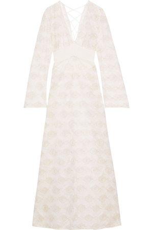La Perla Women Nightdresses & Shirts - Woman Arianna Lace-up Metallic Embroidered Tulle Nightdress Off- Size 2