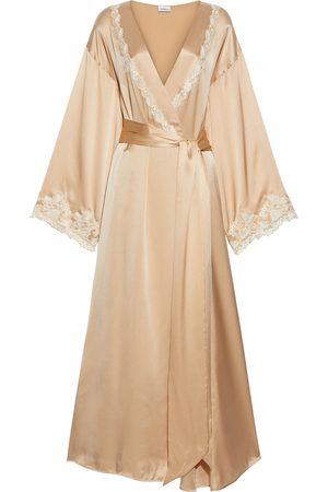 LA PERLA Woman Maison Classique Embroidered Lace-trimmed Silk-satin Robe Sand Size 2