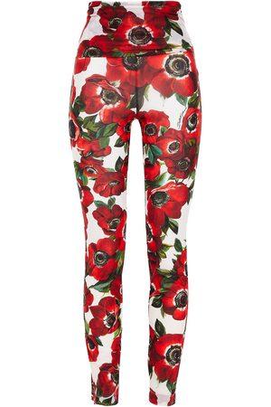 DOLCE & GABBANA Woman Floral-print Stretch-mesh Leggings Ivory Size 36