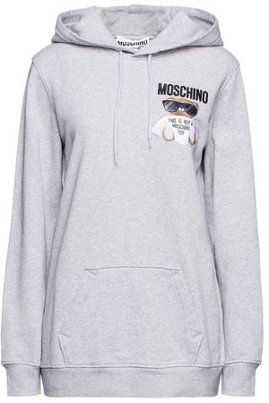 MOSCHINO Woman Embroidered Printed French Cotton-terry Hoodie Light Size 36