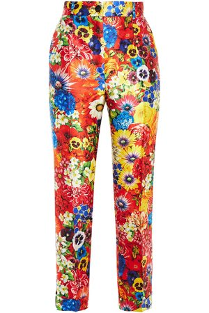 Dolce & Gabbana Woman Cropped Floral-print Silk-blend Satin Tapered Pants Size 36