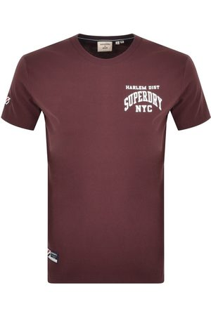 Superdry Short Sleeved T Shirt Burgundy