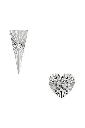 Gucci Icon Diamond Earrings in Metallic Silver