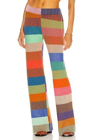 THE ELDER STATESMAN Women Wide Leg Pants - Cashmere Yatzy Stripe Ribbed Flare Pant