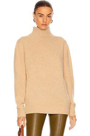 THE ELDER STATESMAN Cashmere Heavy Oversized Turtleneck Sweater in Tan