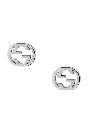 Gucci Interlocking G Butterfly Clasp Earrings in Metallic Silver