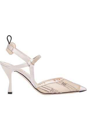 Fendi Women High Heels - Mesh High-Heeled Slingbacks With Rhinestone Embroidery