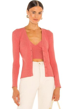 JoosTricot Ribbed Cardigan in Coral.