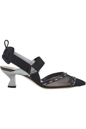 Fendi Women High Heels - Mesh, Medium-Heel Slingbacks With Metal Stitches