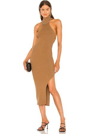 Michael Costello X REVOLVE Adalia Halter Dress in Tan.