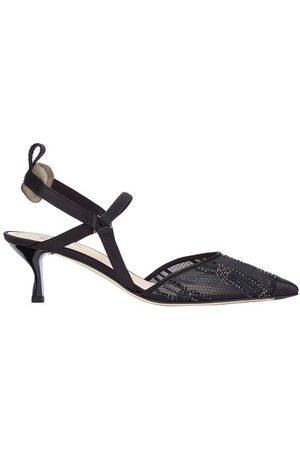 Fendi Medium Heel Slingbacks In Mesh With Rhinestone Embroidery