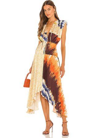 AMUR Women Midi Dresses - Milan Pleated Midi Dress in Tan.