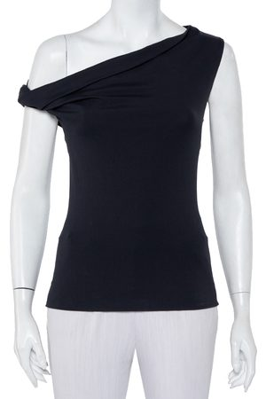 Balenciaga Women Tops - Charcoal Grey Knit One Shoulder Top S