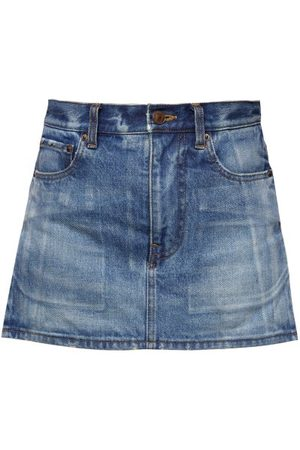 Balenciaga Women Mini Skirts - Side-slit Denim Mini Skirt - Womens - Light Denim