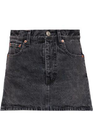 Balenciaga Women Mini Skirts - Side-slit Denim Mini Skirt - Womens