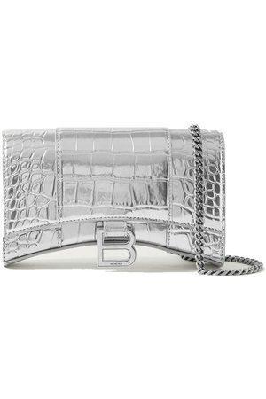 Balenciaga Hourglass XS metallic croc-effect leather shoulder bag