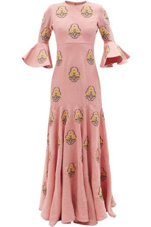 Agua by Agua Bendita Gardenia floral-embroidered linen maxi dress
