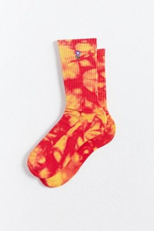 Urban Outfitters Men Neckties - Embroidered Flower Tie-Dye Crew Sock