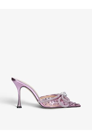 Mach & Mach Women Heeled Sandals - Double Bow crystal-embellished satin heeled sandals