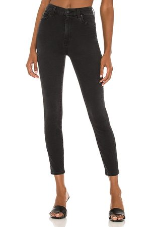 7 for all Mankind High Waist Ankle Skinny Jean in Black.