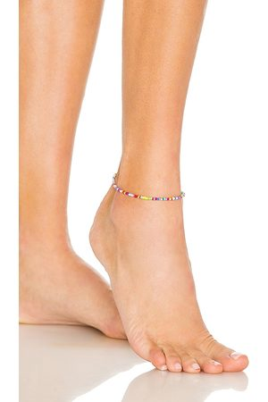 Adina's Jewels Multi Color Beaded Anklet in Yellow,Blue.