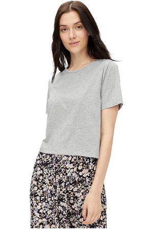 Pieces Rina Crop Short Sleeve T-shirt M Light Grey Melange