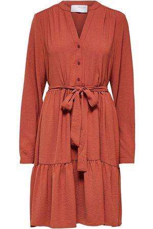 SELECTED Mivia Long Sleeve Short Dress 34 Chili Oil