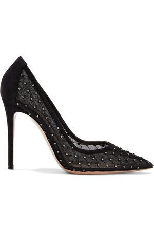 Gianvito Rossi Women Heeled Pumps - Woman Rea 105 Crystal-embellished Mesh And Suede Pumps Size 38.5